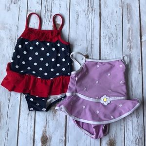 Other - Toddler 2 Bathing Suits Patriotic and Flowers